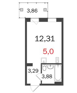 Планировка Однокомнатная квартира площадью 25.63 кв.м в ЖК «МКР Центральный»