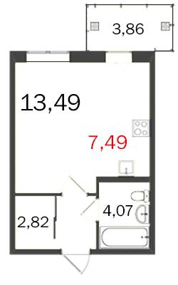 Планировка Однокомнатная квартира площадью 31.12 кв.м в ЖК «МКР Центральный»
