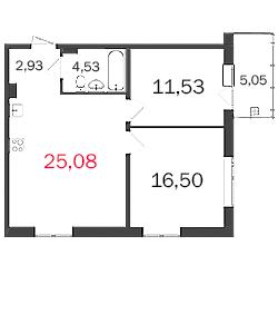 Планировка Двухкомнатная квартира площадью 63.09 кв.м в ЖК «МКР Центральный»